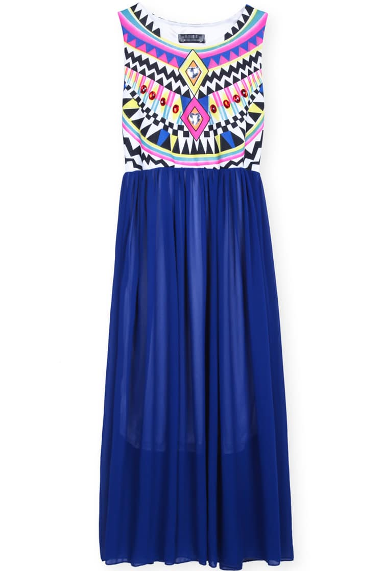 Blue Sleeveless Geometric Tribal Print Chiffon Dress -SheIn(Sheinside)