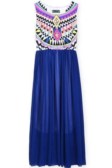 Blue Sleeveless Geometric Tribal Print Chiffon Dress