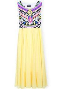Yellow Sleeveless Geometric Tribal Print Chiffon Dress
