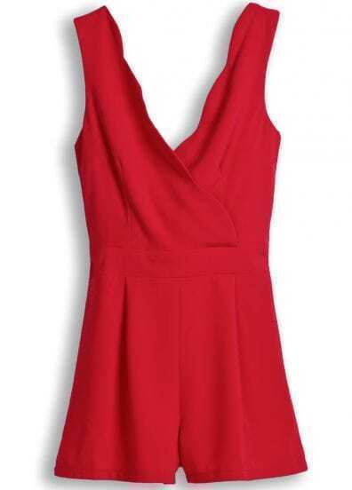 Red Spaghetti Strap Back Bow Jumpsuits