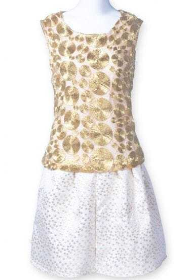Gold White Sleeveless Metal Embellished Top With Skirt