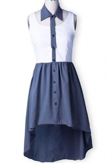 White Grey Lapel Sleeveless Buttons High Low Dress