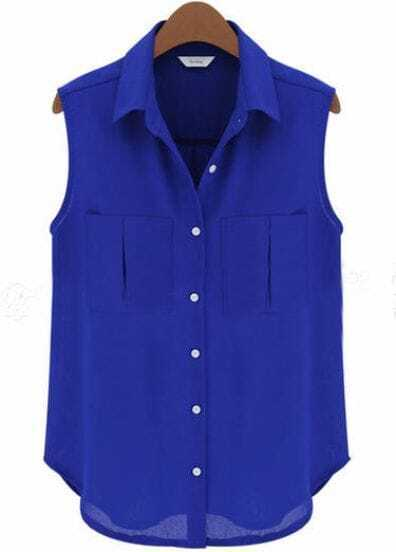 Blue Lapel Sleeveless Pockets Chiffon Blouse