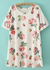 Beige Short Sleeve Floral Loose Straight Dress