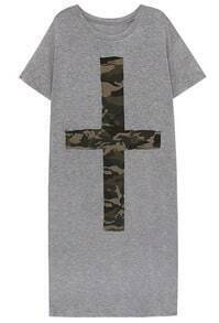Grey Short Sleeve Camouflage Cross Dress