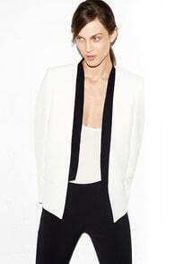 White Long Sleeve Contrast Trims Pockets Blazer