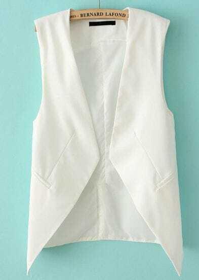 White Sleeveless Asymmetrical Pockets Outerwear