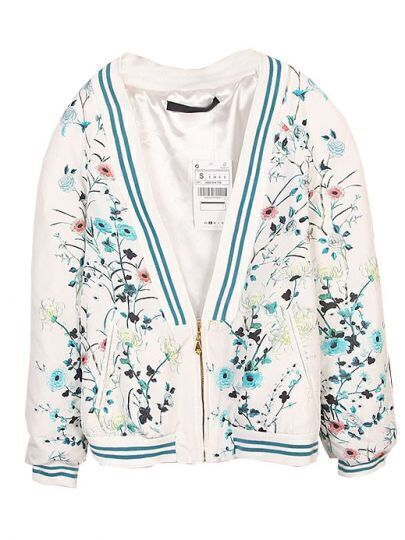 White Long Sleeve Phoenix Floral Print Jacket