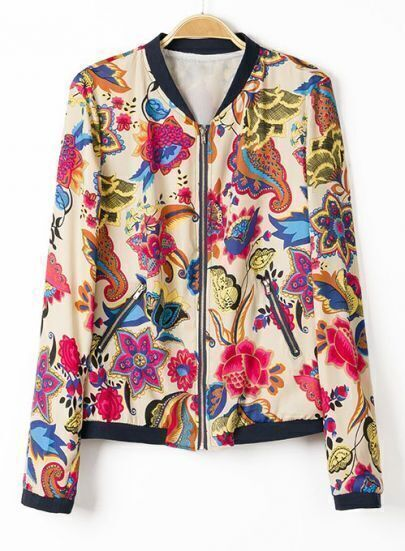 Multi Long Sleeve Floral Zipper Pockets Jacket
