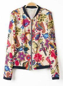 Multi Long Sleeve Floral Zipper Pockets Jacket