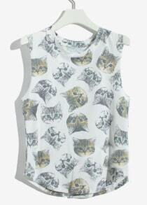White Sleeveless Cats Print Cotton Vest