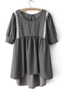 Grey Puff Sleeve High Low Tunic Short Dress