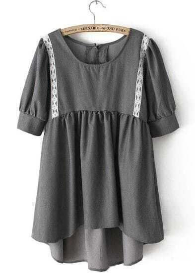 Grey Puff Sleeve High Low Tunic Short Dress