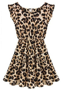 Leopard Sleeveless Ruffles Pleated Chiffon Waist Dress