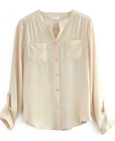 Apricot Long Sleeve Pockets Chiffon Blouse