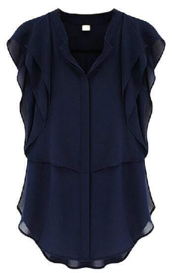 Navy V Neck Ruffles Sleeve Chiffon Blouse
