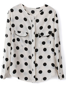 White Long Sleeve Polka Dot Pockets Chiffon Blouse