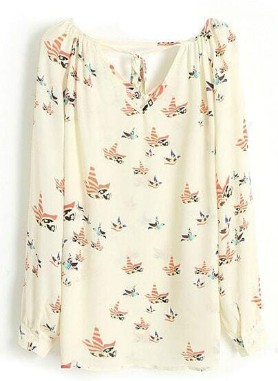 Beige Long Sleeve Cut Out Tie Front Bird Chiffon Blouse