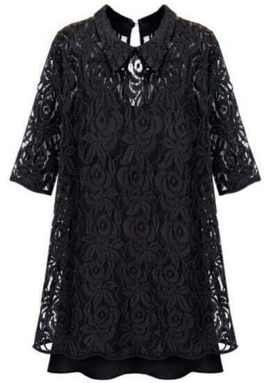 Black Lapel Half Sleeve Embroidery Lace Dress