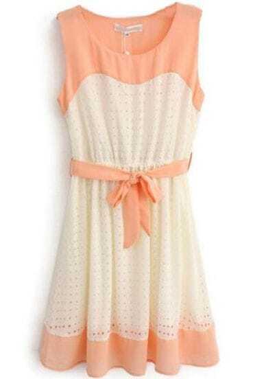 Orange Beige Sleeveless Hollow Belt Chiffon Dress