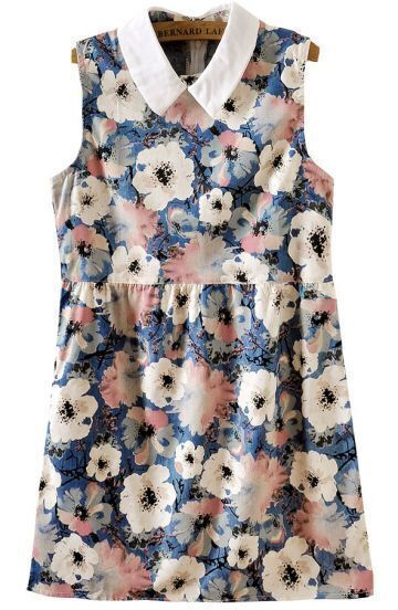 Blue Lapel Sleeveless Floral Denim Dress
