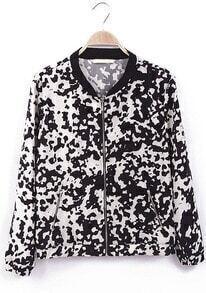 Black Long Sleeve Dairy Cow Pattern Jacket