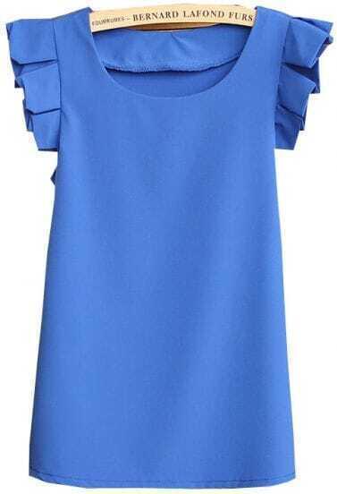 Blue Round Neck Pleated Short Sleeve Chiffon Blouse