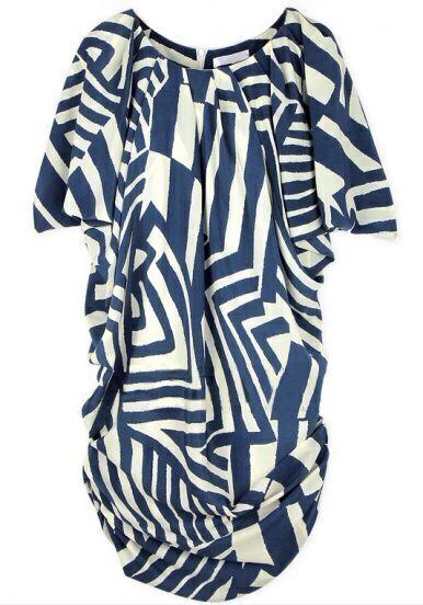 Blue Short Sleeve Asymmetrical Striped Dress