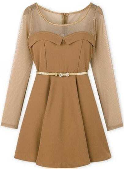 Khaki Contrast Sheer Mesh Yoke Long Sleeve Dress
