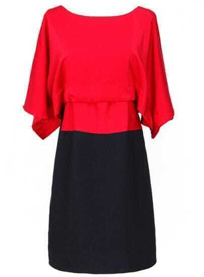Red Black Batwing Short Sleeve Bow Dress