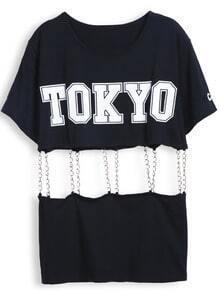 Black Short Sleeve TOKYO Print Contrast Chain T-Shirt