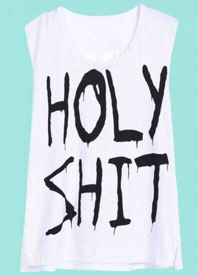 White Sleeveless HOLY SHIT Print T-Shirt