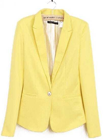 Yellow Lapel Long Sleeve Single Button Blazer