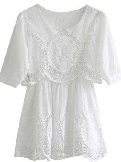 White Half Sleeve Hollow Embroidery Dress
