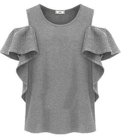 Grey Off the Shoulder Ruffles T-Shirt