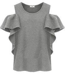 Grey Off the Shoulder Ruffles T-Shirt