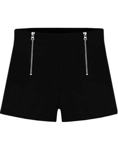 Black Double Zipper Straight Shorts