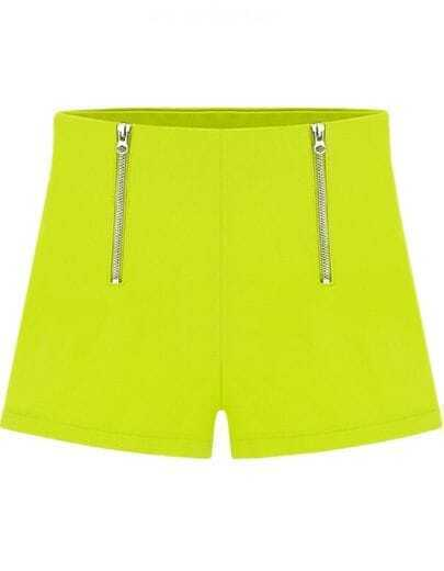 Yellow Double Zipper Straight Shorts