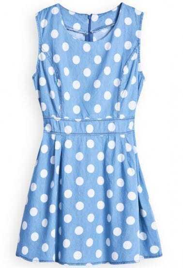 Blue Sleeveless Polka Dot Zipper Denim Dress