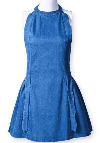 blue halter sleeveless ruffles denim dress sheinsheinside