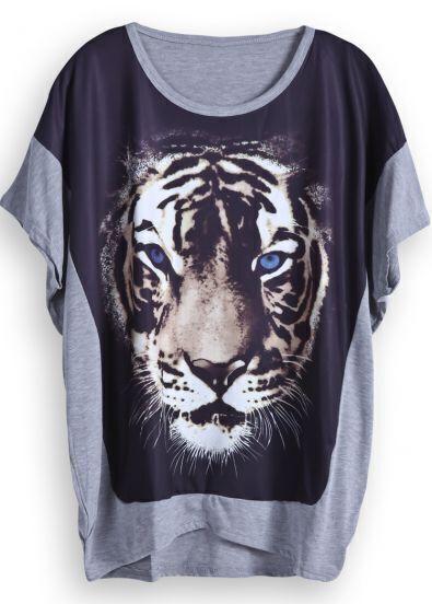 Grey Batwing Sleeve Tiger Print Dipped Hem T-Shirt