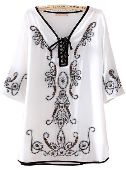 White V Neck Half Sleeve Tribal Embroidery Dress