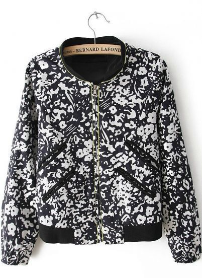 Black Long Sleeve Floral Zipper Pockets Jacket
