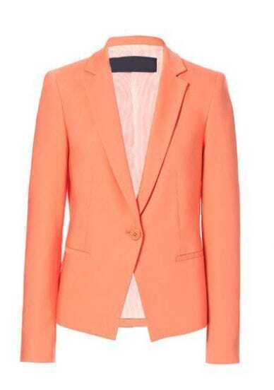 Orange Long Sleeve Notch Lapel Single Button Blazer