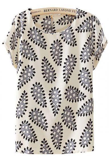 White Short Sleeve Cashew Print Chiffon Blouse