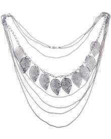 Multi Piece Long Necklace With Leaf Embellished