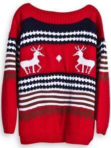 Red and Navy Striped Deer Boat Neck Sweater
