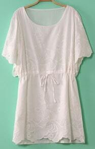 White Flare Sleeve Eyelet Embroidery Drawstring Dress