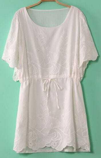 White Flare Sleeve Eyelet Embroidery Drawstring Dress