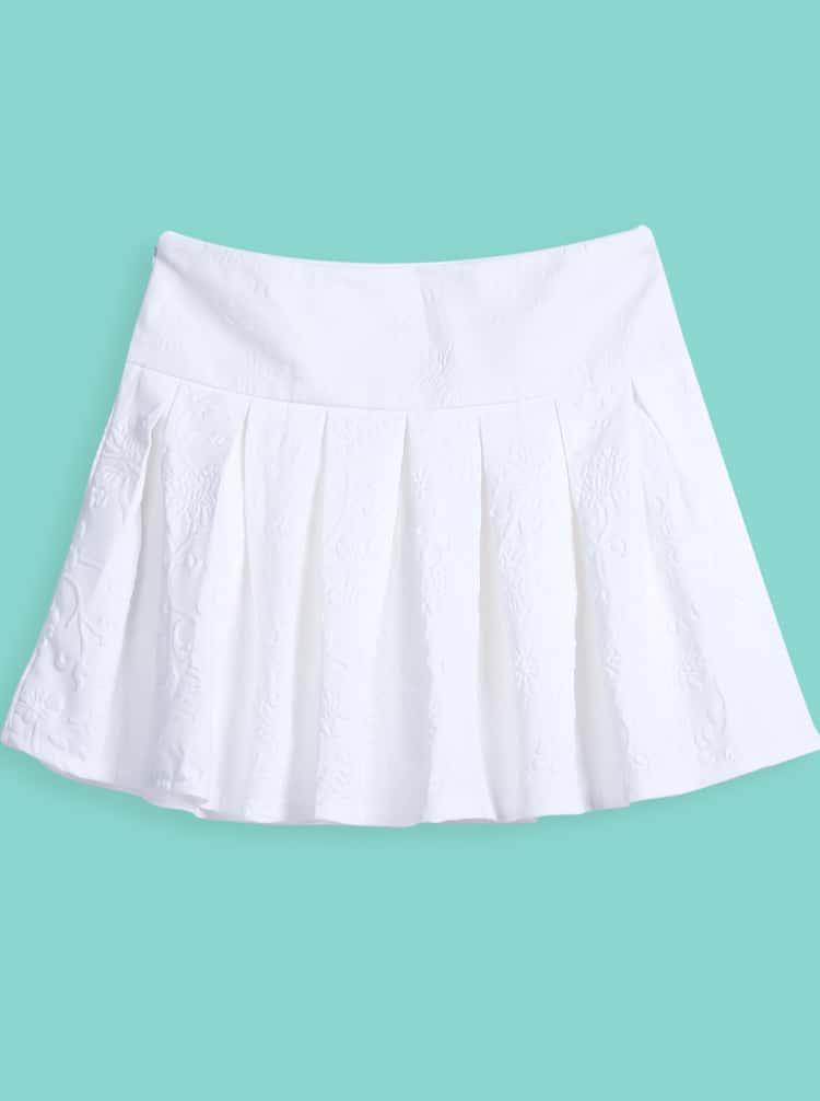 white simple design pleated skirt shein sheinside